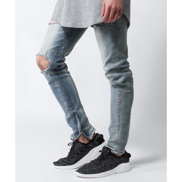 スキニー デニム パンツ メンズ 裾ZIP デザイン クラッシュ ブリーチ|soyous|02
