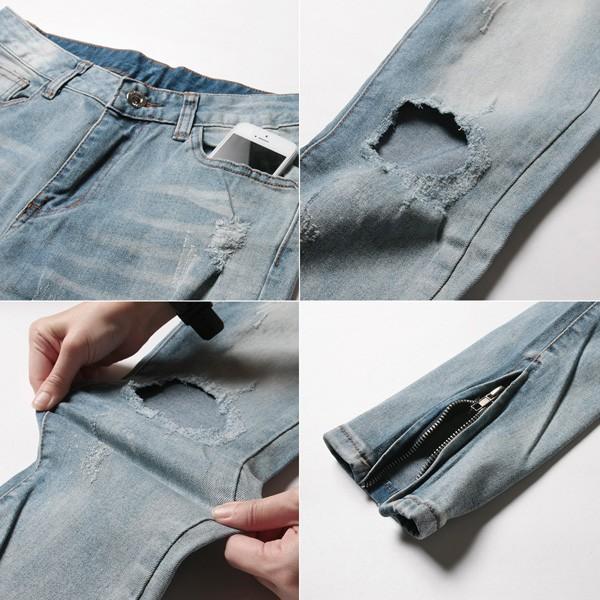 スキニー デニム パンツ メンズ 裾ZIP デザイン クラッシュ ブリーチ|soyous|05