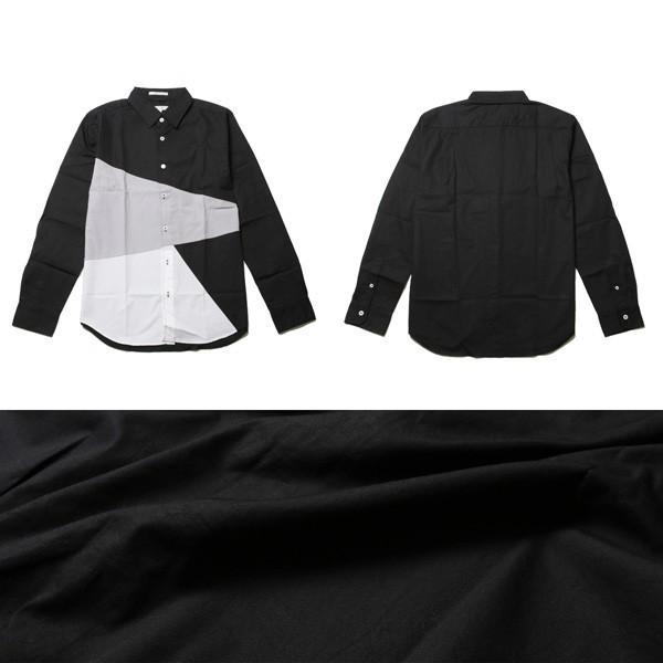 シャツ メンズ 長袖 ブロード バイアス ブロッキング|soyous|04