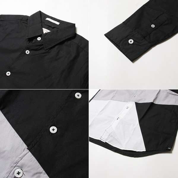 シャツ メンズ 長袖 ブロード バイアス ブロッキング|soyous|05