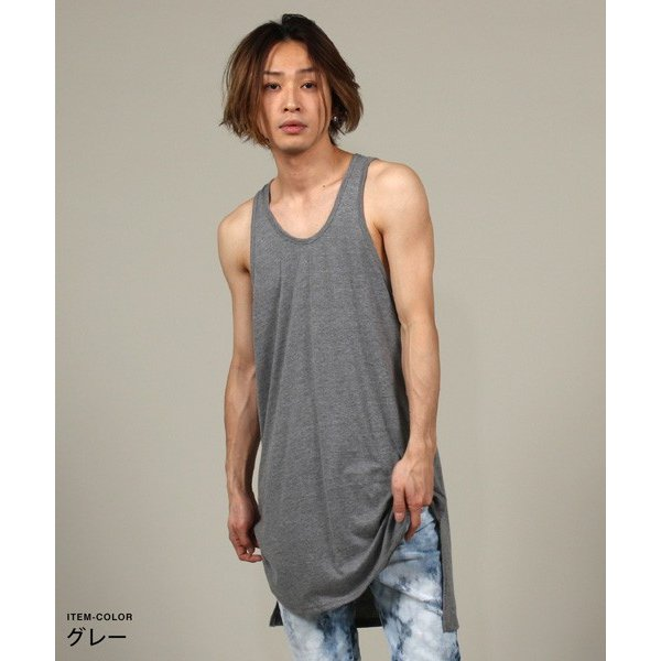 ロング タンクトップ 裾ラウンド スリット メンズ|soyous|03