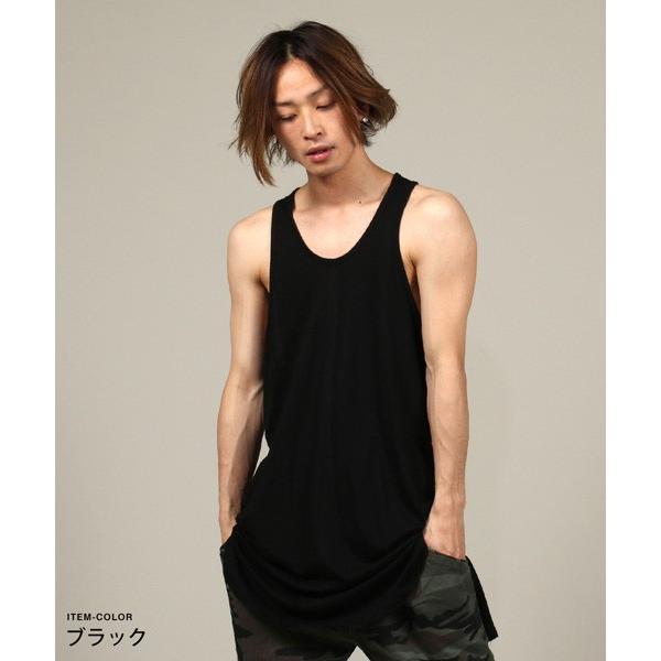 ロング タンクトップ 裾ラウンド スリット メンズ|soyous|04