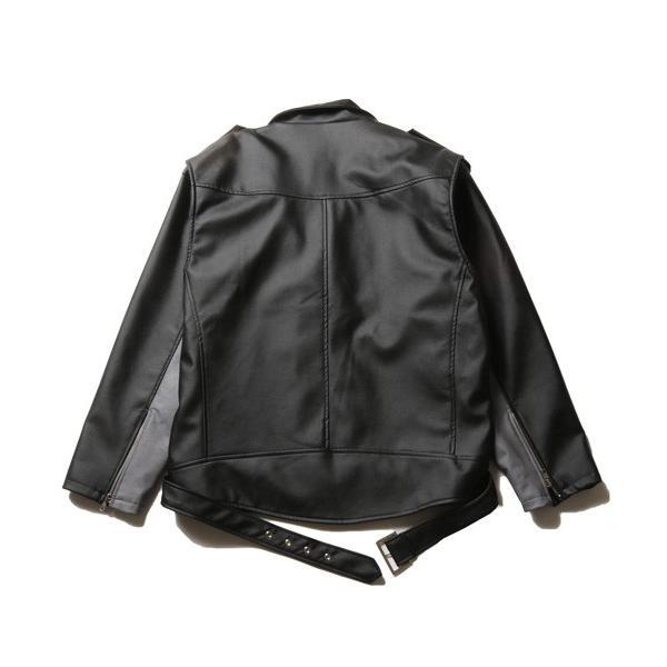 ビッグシルエット PU ダブルライダース ジャケット メンズ|soyous|04
