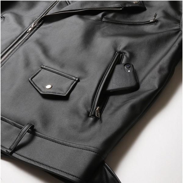 ビッグシルエット PU ダブルライダース ジャケット メンズ|soyous|06