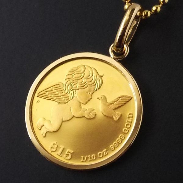 純金 ネックレス コイン 24金 ツバルエンジェル金貨 1/10オンス (大)18金 シンプル伏込枠 ペンダント