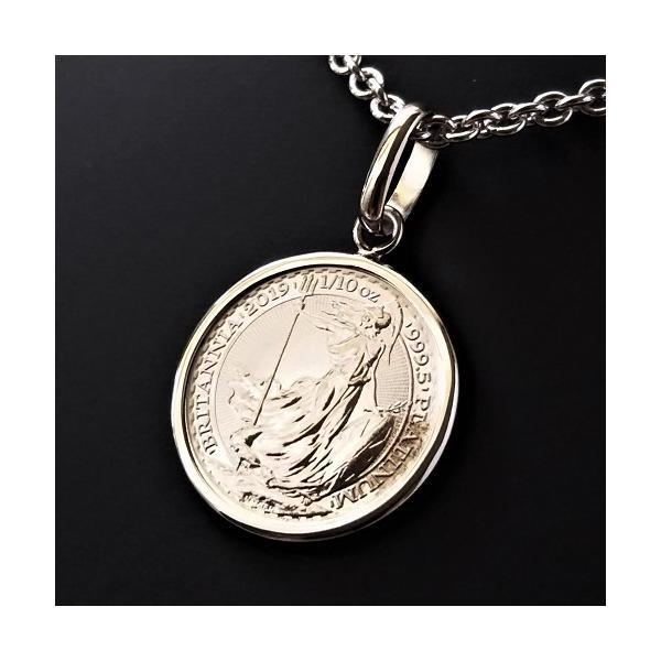 純プラチナ コインネックレス ブリタニア プラチナ貨 1/10オンス PT850 伏込枠 プラチナコイン ペンダント トップ 白金