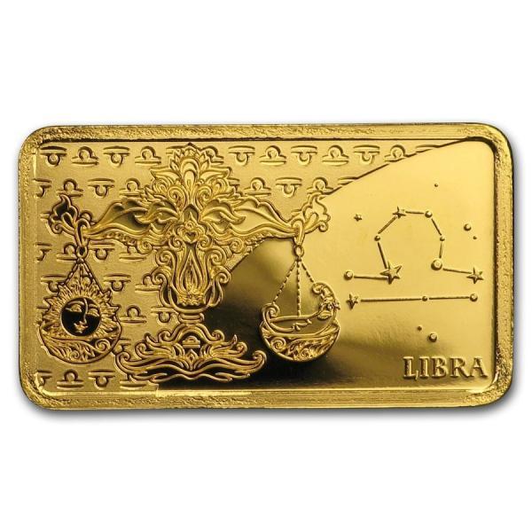 新品『12星座 てんびん座 ゴールドバー0.5g』純金 ゴールドバー ソロモン諸島発行 0.5g 品位:99.99% K24 12星座 天秤座 黄道十二星座《安心の本物保証》