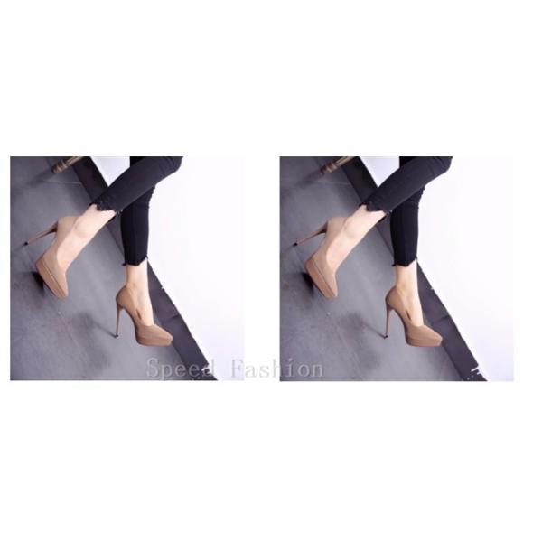パンプス ハイヒール シューズ 靴 美脚 インテッド ヒール シューズ ピンヒール レディース 厚底靴 ポインテッドシューズ パーティー 結婚式 二次会  XZ101