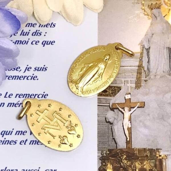 パリ奇跡のメダイ教会正規品 不思議のメダイユ LLサイズ クラウン 真鍮ゴールド フランス製 ゴールド マリア ペンダント カトリック聖品 本物 おまけ付き|spica-france|02