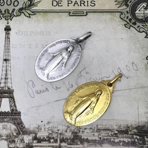 パリ奇跡のメダイ教会正規品 不思議のメダイユ LLサイズ クラウン 真鍮シルバー フランス製 マリアペンダント カトリック聖品 本物 おまけ付き spica-france 05