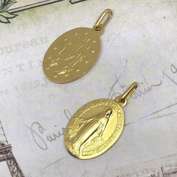 パリ奇跡のメダイ教会正規品 不思議のメダイユ Mサイズ 真鍮ゴールドマット フランス製 ゴールド マリア ペンダント カトリック聖品 本物 おまけ付き|spica-france|05