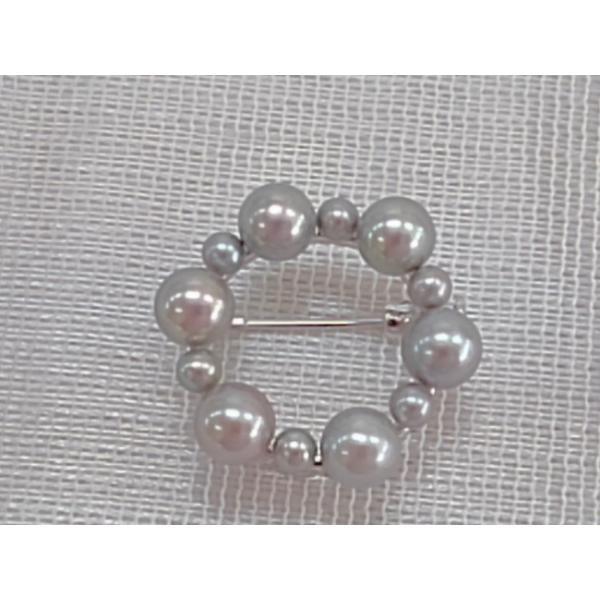 ツジモト真珠のブローチ あこや本真珠 サークルデザイン シルバー製  黒真珠