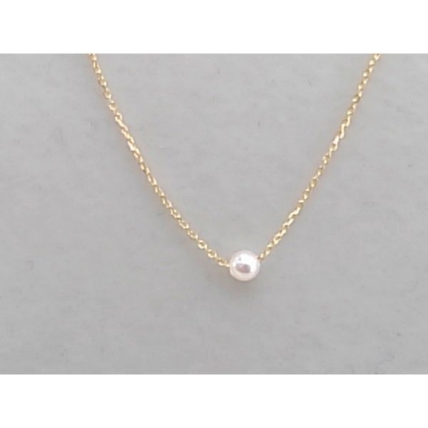 ツジモト真珠の ベビーパール  あこや本真珠 K18 スルー  貫通ネックレス|spicapearl