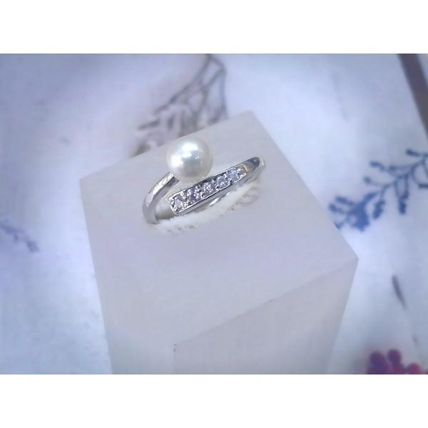 あこや真珠 リング バンド ジルコニア SV製 フリーサイズ 指輪 カジュアル|spicapearl