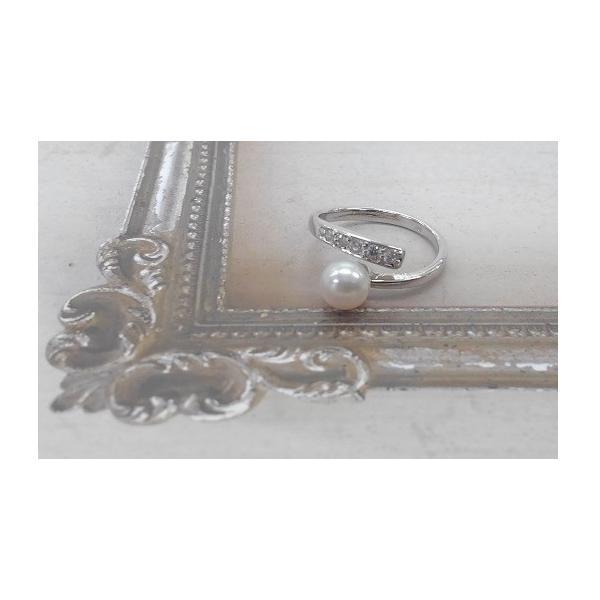 あこや真珠 リング バンド ジルコニア SV製 フリーサイズ 指輪 カジュアル|spicapearl|02