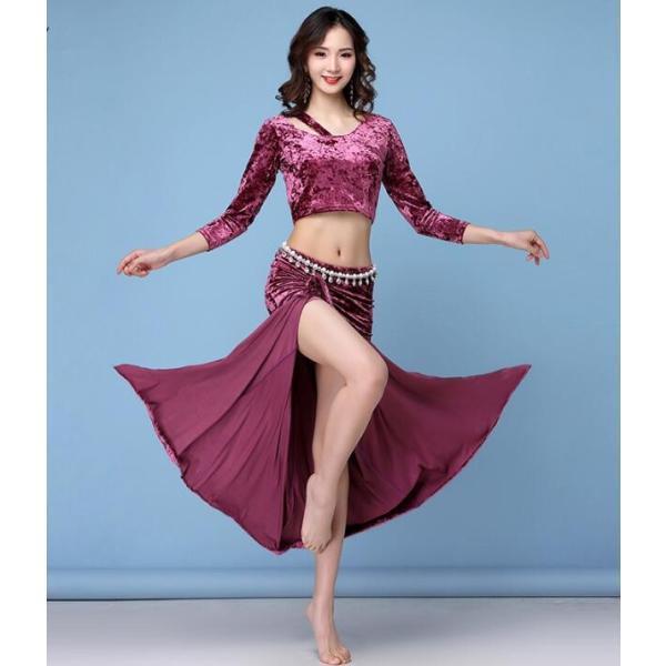 新品  ベリーダンス衣装  レディース  社交ダンス  セクシー  トップス+スカート  コスチューム  フィットネスウェア  練習着  ステージ  演出服|spillhope0601
