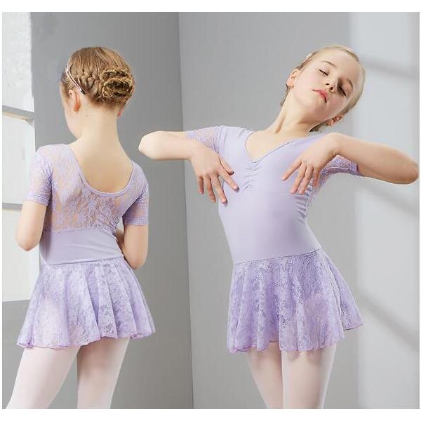 バレエ レオタード  キッズダンス  衣装  演出服  子供  半袖  ダンス  ワンピース  舞台  練習着  レーススカート  お姫様  ステージ|spillhope0601