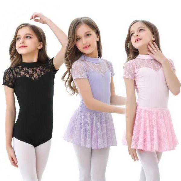 バレエ レオタード  子供  ジュニア  キッズ  ダンスウエア  半袖  レース  スカート付き  舞台  演出服  練習着  女の子  スナップ付  2点セット|spillhope0601