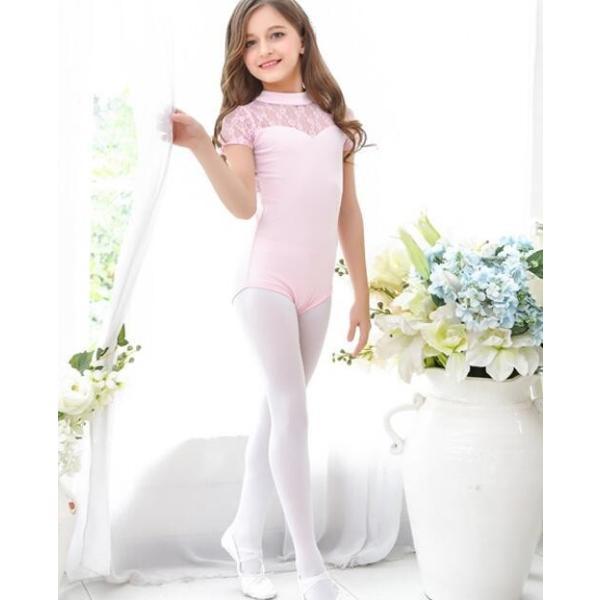 バレエ レオタード  子供  ジュニア  キッズ  ダンスウエア  半袖  レース  スカート付き  舞台  演出服  練習着  女の子  スナップ付  2点セット|spillhope0601|04