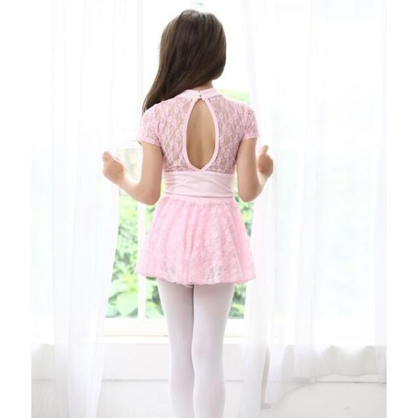 バレエ レオタード  子供  ジュニア  キッズ  ダンスウエア  半袖  レース  スカート付き  舞台  演出服  練習着  女の子  スナップ付  2点セット|spillhope0601|05