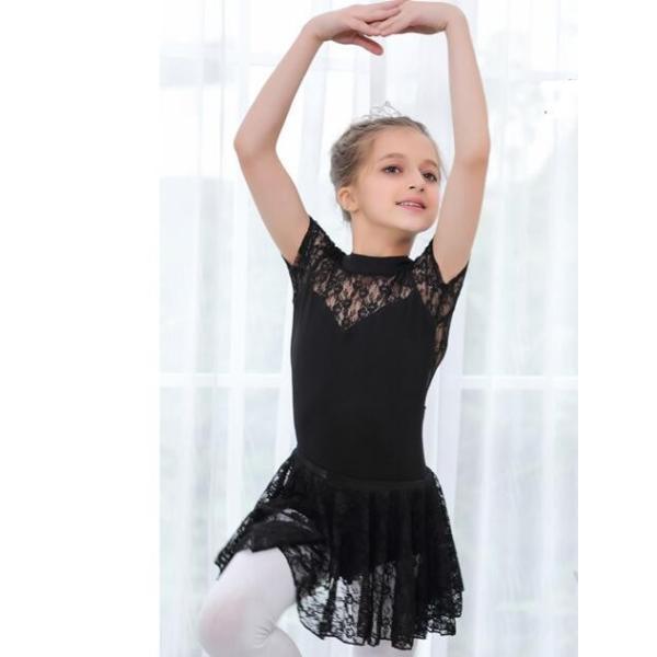 バレエ レオタード  子供  ジュニア  キッズ  ダンスウエア  半袖  レース  スカート付き  舞台  演出服  練習着  女の子  スナップ付  2点セット|spillhope0601|07