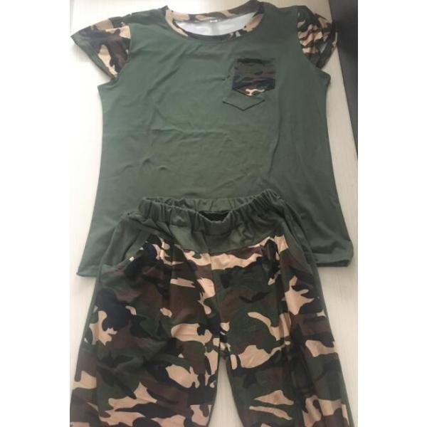在庫処理 送料無料 セットアップ レディース tシャツ パンツ ミリタリー ジャージ 上下セット スウェット 迷彩 ルームウェア スポーツ パジャマ|spillhope0601|06