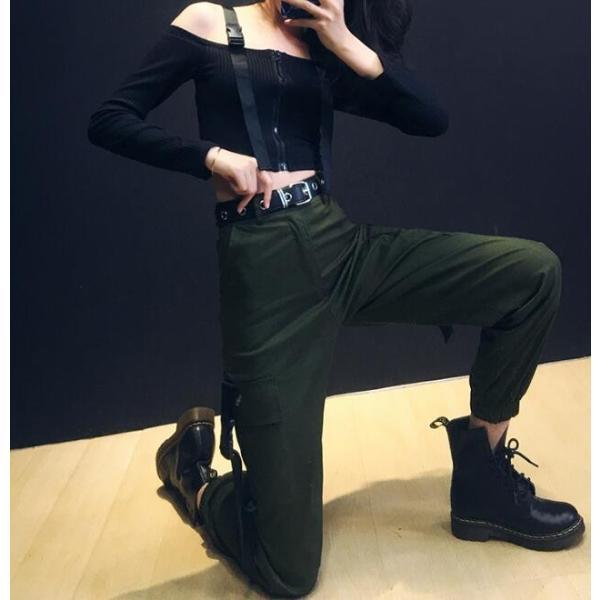 店長お勧め  カーゴパンツ  レディース  ヒップホップ  ダンス衣装  練習着  ロングパンツ  舞台服  大人  ズボン  ボトムス  ジャズダンス  コスチューム|spillhope0601|04
