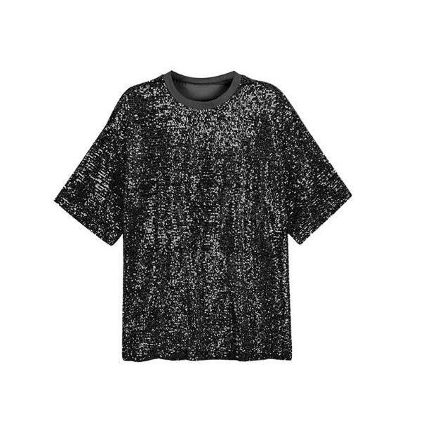 Yahoo最安価挑戦  演出服  半袖  Tシャツ  ヒップホップ衣装  ロング丈  トップス  スパンコール  ワンピース  レディース  ステージ  舞台  レッスン着 spillhope0601 04