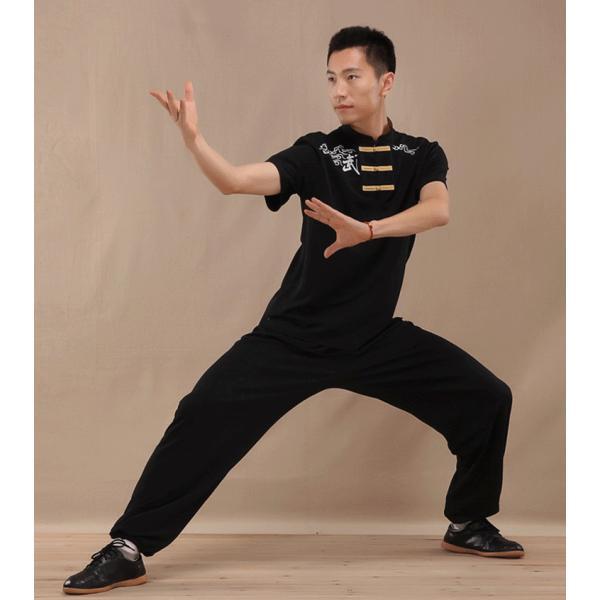 太極拳TシャツメンズカンフーTシャツ半袖男女兼用武術Tシャツ