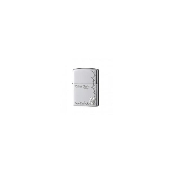 C ZIPPO(ジッポー) ライター ローズ 純銀メタルコーナー 63250198 着火 上品 たばこ メタル シンプル 火 高級感 バラ