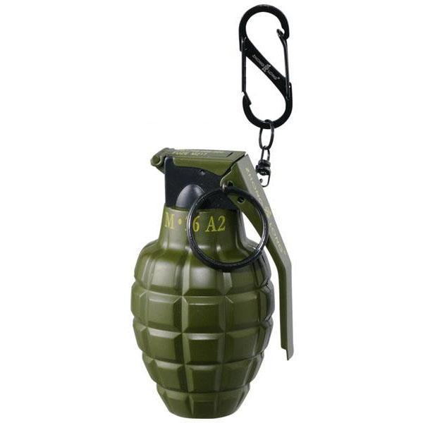 C グレネード型ターボライター カーキ 71390022 ミリタリー おもしろ ガスボンベ 携帯 爆弾 ユニーク 手榴弾 おしゃれ 旅行 カラビナ 注入式