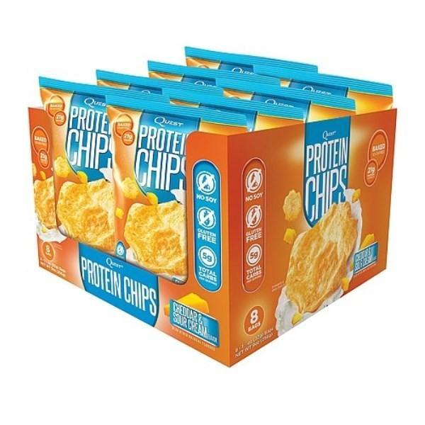 クエスト プロテインチップス チェダー&サワークリーム 8袋 (1袋32g) Quest Nutrition社