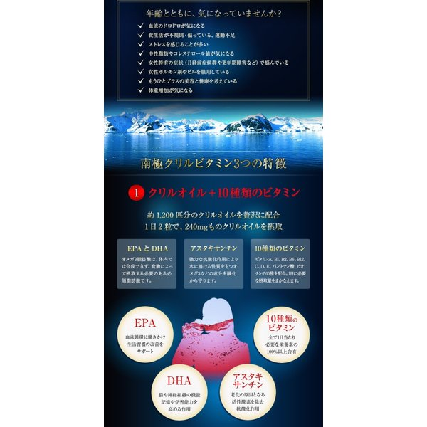 3袋セット クリルオイル EPA DHA アスタキサンチン +10種のビタミン 南極クリルビタミン 南極オキアミ 120粒|spl|05
