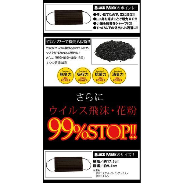 黒 マスク/ 42枚セット ブラックマスク 風 花粉 活性炭 すっぴん splash-wall 03