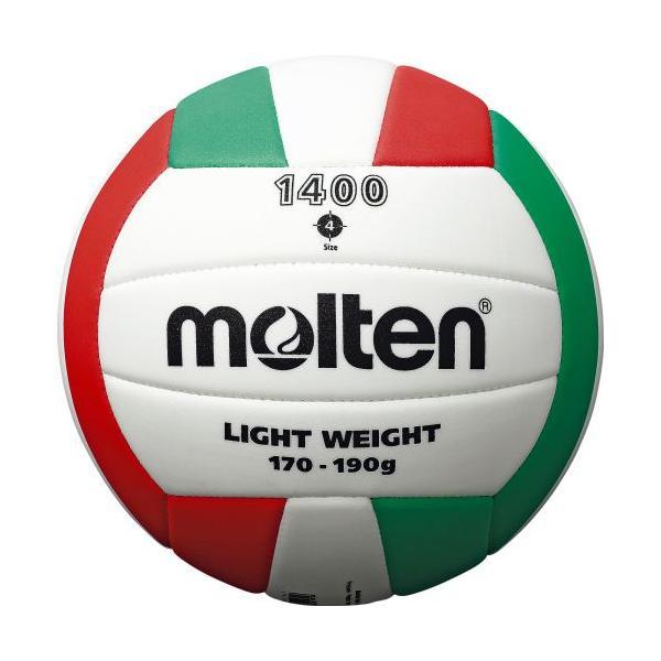 molten モルテン EVAバレーボール 4号球 V4C1400-L バレーボール 4号軽量 ホワイトxレッドxグリーン 4号球