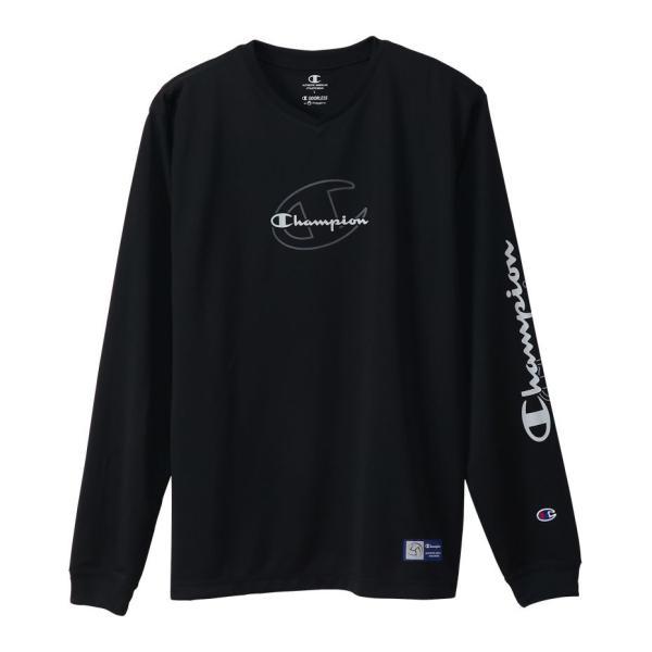 Champion チャンピオン PRACTICE LONG T-SHIRT C3-UV402  090 バレーボール 長袖Tシャツ メンズ ブラック