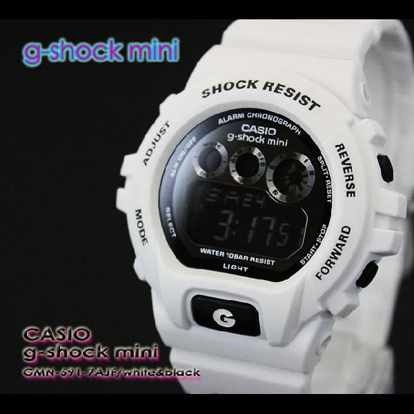 g-shock mini Gショック ミニ GMN-691-7AJF white black|spray
