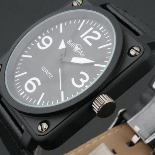 fd2ed420bf ... 腕時計 メンズ腕時計 ビッグサイズ 角型コーティングケース 航空計器デザイン PUレザーベルト クォーツ ...