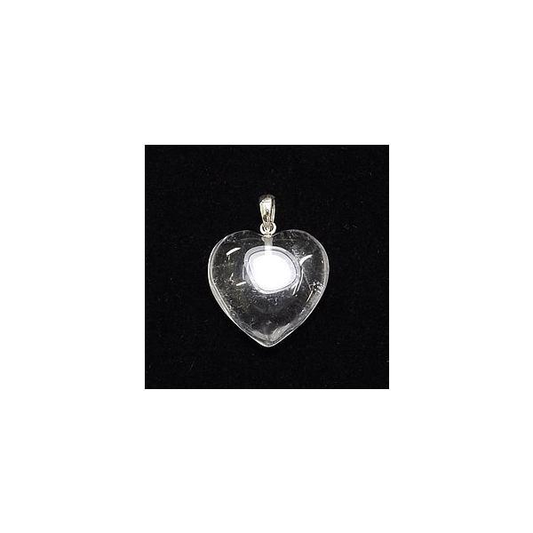 クリスタル(水晶) ペンダントトップ ハートカット 天然石 パワーストーン ネックレス シルバー925