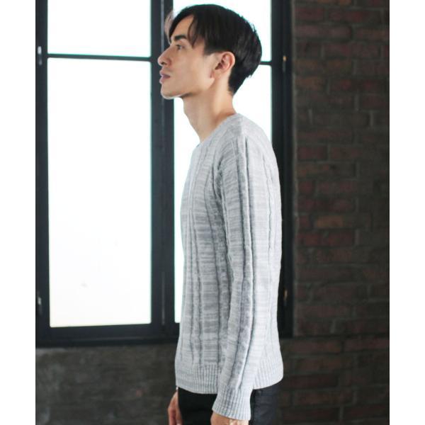 ケーブルニット メンズ ニット セーター 2018 AW 新作 リニューアル ケーブル編み Vネック / クルーネック 綿ニット メンズファッション|spu|11