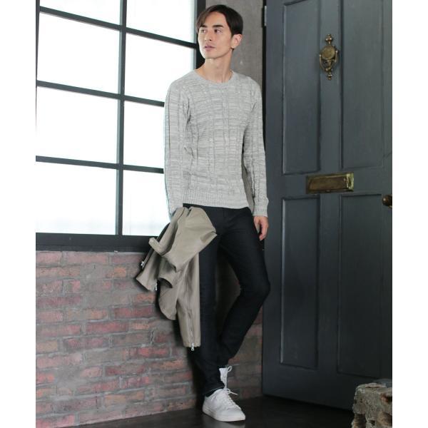 ケーブル ニット メンズ セーター 2017 AW 新作 リニューアル メンズ ケーブル編み Vネック / クルーネック 綿ニット メンズファッション|spu|04