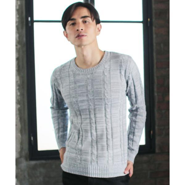 ケーブルニット メンズ ニット セーター 2018 AW 新作 リニューアル ケーブル編み Vネック / クルーネック 綿ニット メンズファッション|spu|10