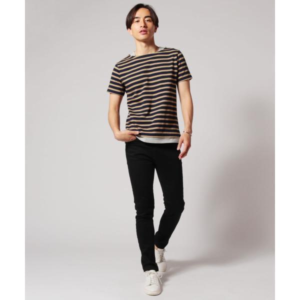 バスクシャツ ボーダー カットソー メンズ 日本製 BSQ度詰 天竺 レイヤード ボートネック|spu|06