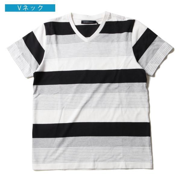 tシャツ メンズ ボーダーカットソー 夏 2018新作 お洒落 ボーダー クルー / Vネック 半袖 カットソー|spu|16