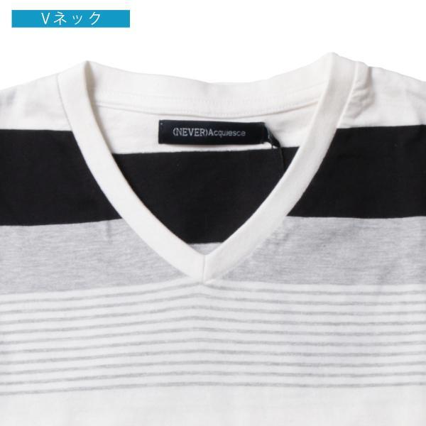 tシャツ メンズ ボーダーカットソー 夏 2018新作 お洒落 ボーダー クルー / Vネック 半袖 カットソー|spu|17