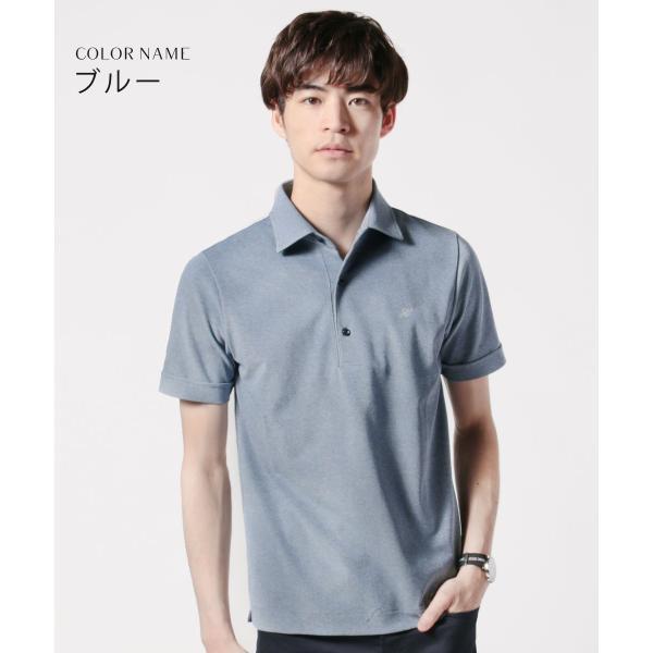 メンズ ポロシャツ メンズファッション TC シルケット 鹿の子 ワイドスプレッドカラー 半袖 ポロシャツ Harriss ハリス|spu|05