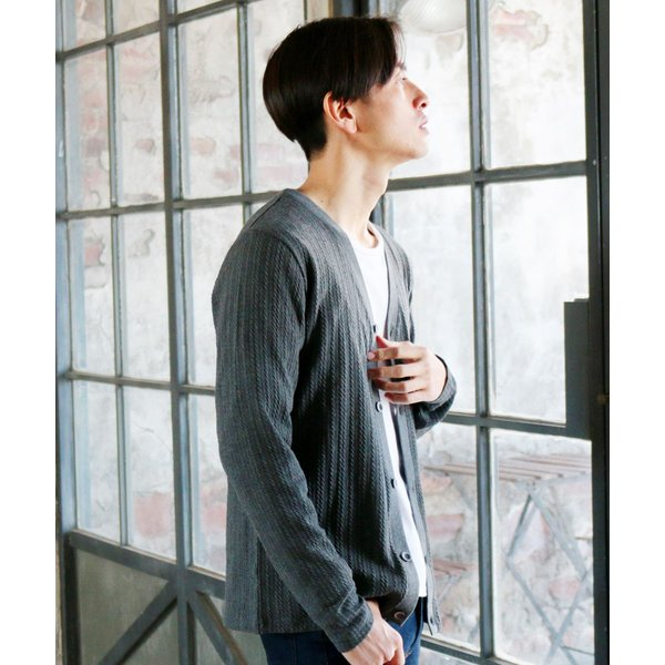 カーディガン メンズ ケーブル 綿 秋 羽織 カーデ 予約販売・10月下旬頃発送予定|spu|19