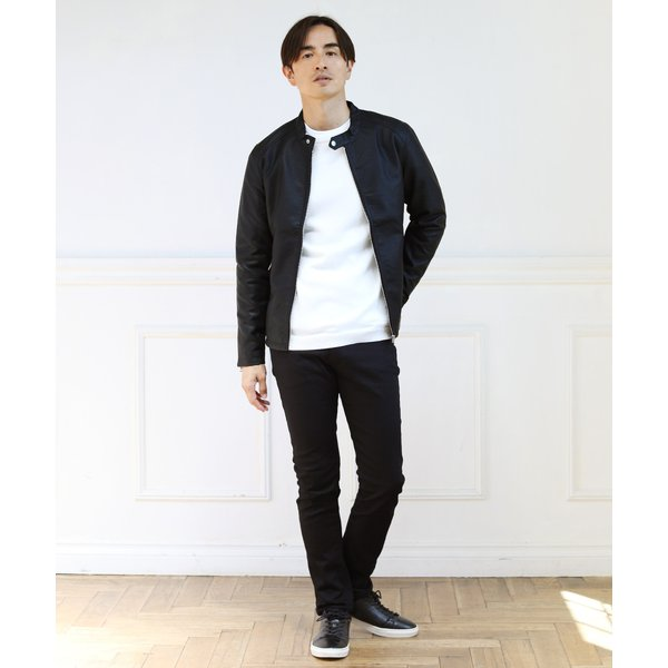 ライダースジャケット メンズ シングル スムース / スエード リアルタッチ レザー ライダースジャケット|spu|02