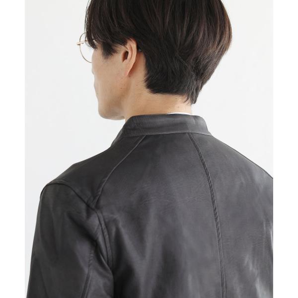 ライダースジャケット メンズ シングル スムース / スエード リアルタッチ レザー ライダースジャケット|spu|14