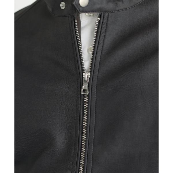 ライダースジャケット メンズ シングル スムース / スエード リアルタッチレザー|spu|16